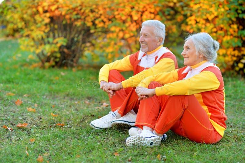 Retrato de los pares mayores aptos que ejercitan en parque del oto?o fotos de archivo