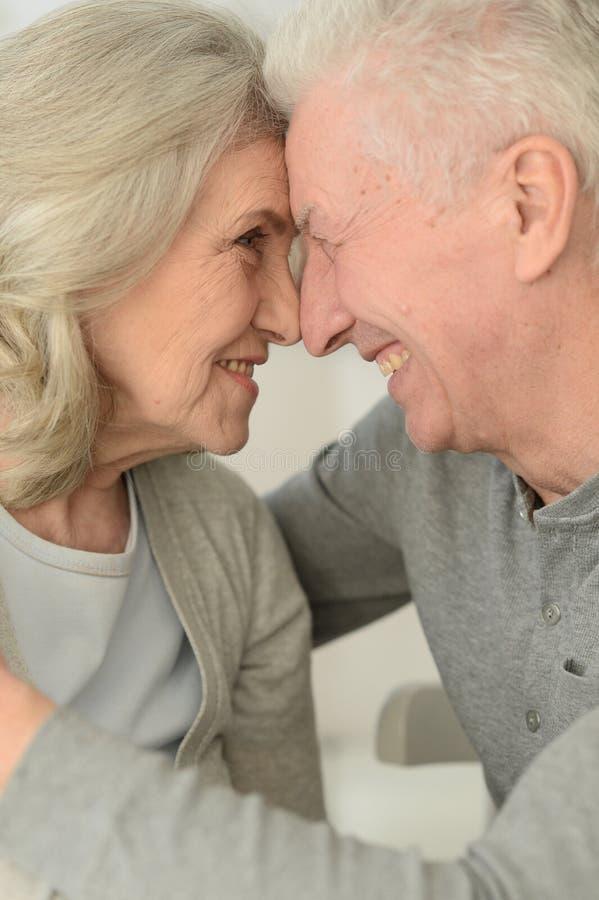 Retrato de los pares mayores felices que presentan en casa imágenes de archivo libres de regalías