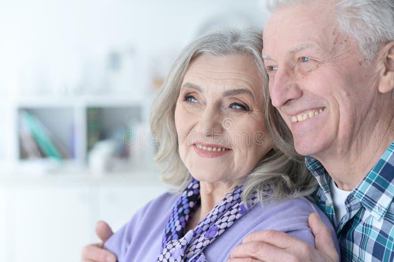 Retrato de los pares mayores felices que presentan en casa imagenes de archivo