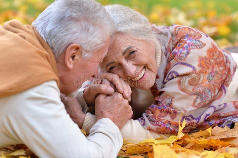 Retrato de los pares mayores que se relajan en parque del otoño imagenes de archivo