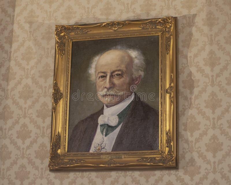 Retrato de Ludwig Moser, fundador de la compañía de cristal mundialmente famosa de Moser, Praga, República Checa imagen de archivo