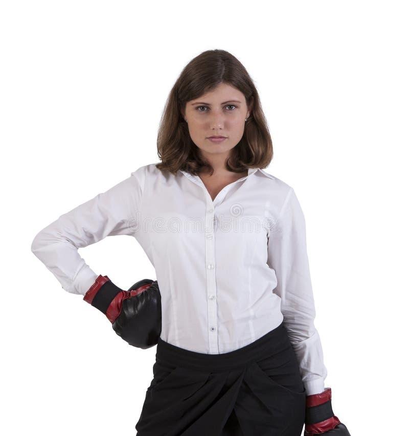Retrato de luvas de encaixotamento vestindo da jovem mulher imagem de stock