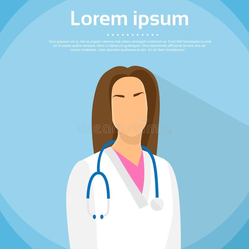 Retrato de médico Profile Icon Female plano stock de ilustración