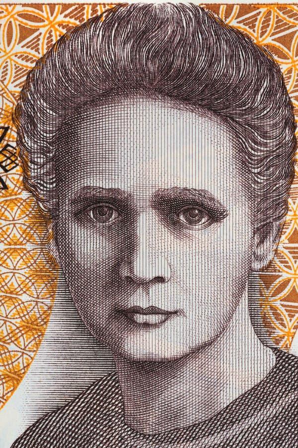 Retrato de Marie Sklodowska Curie dos vinte mil zloty velho foto de stock