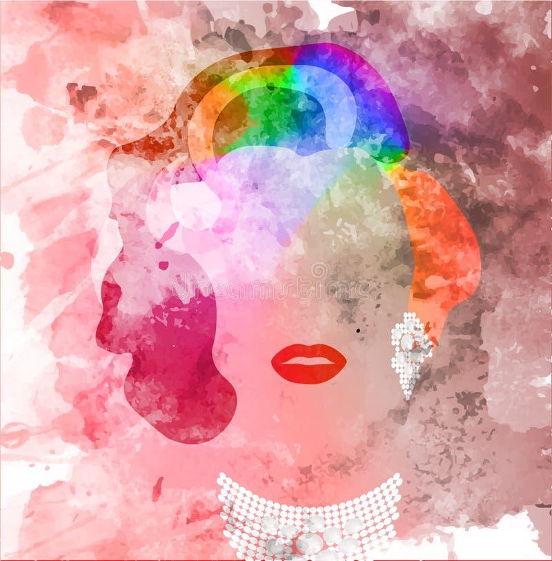 Retrato de Marilyn Monroe, ícone alegre, retrato da mulher com cabelo do arco-íris Ícone da ideia do conceito de LGBT Estilo da a ilustração royalty free