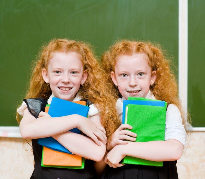 Retrato de meninas bonitas dos gêmeos olhando a câmera fotos de stock