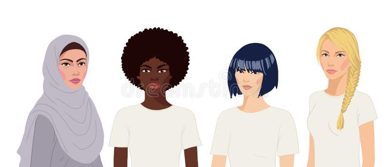 Retrato de mujeres internacionales dibujadas a mano plana con fondo blanco stock de ilustración