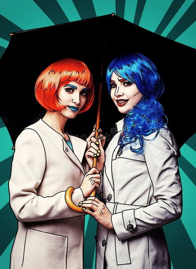 Retrato de mujeres jovenes en estilo cómico del maquillaje del arte pop Hembras con el paraguas ilustración del vector