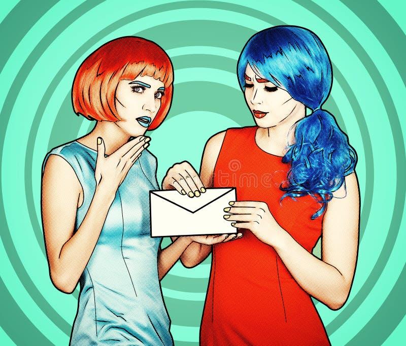 Retrato de mujeres jovenes en estilo cómico del maquillaje del arte pop Las hembras están leyendo la letra imagen de archivo libre de regalías