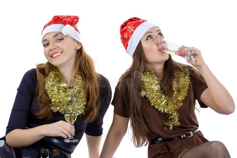 Retrato de mulheres do divertimento com os vidros fotos de stock royalty free
