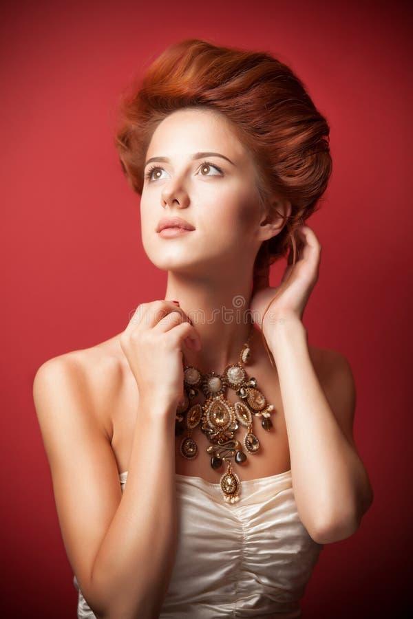 Retrato de mulheres edwardian do ruivo fotografia de stock