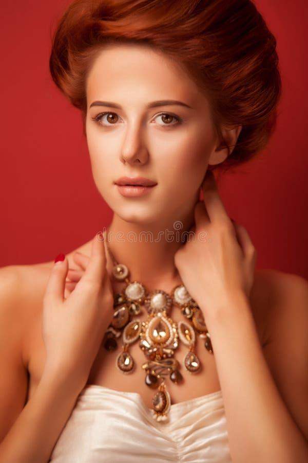 Retrato de mulheres edwardian do ruivo fotos de stock