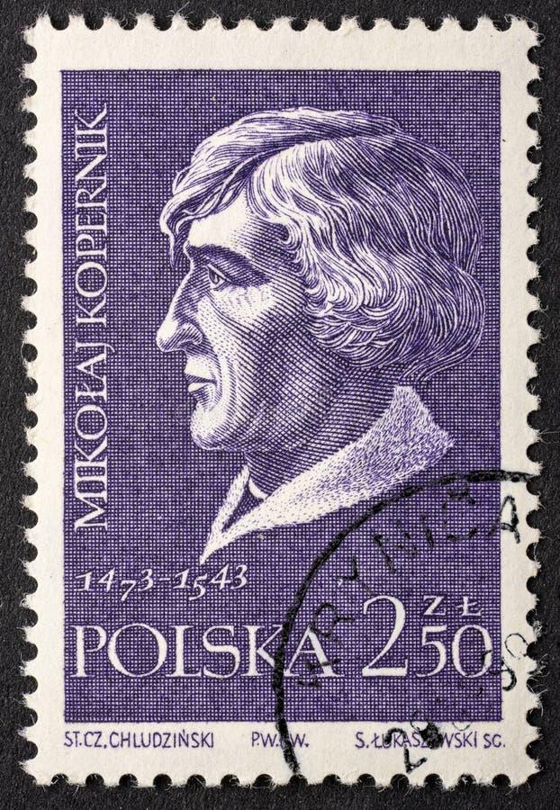 Retrato de Nicolaus Copernicus no selo do cargo imagem de stock royalty free