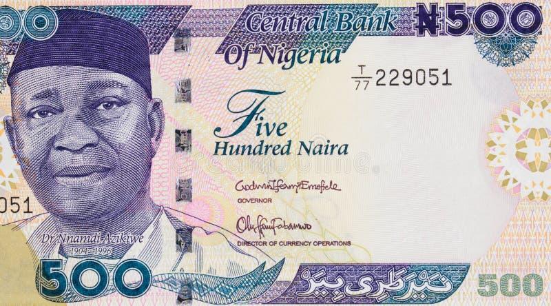Retrato de Nnamdi Azikiwe en Nigeria 500 clo 2016 del billete de banco del naira imágenes de archivo libres de regalías