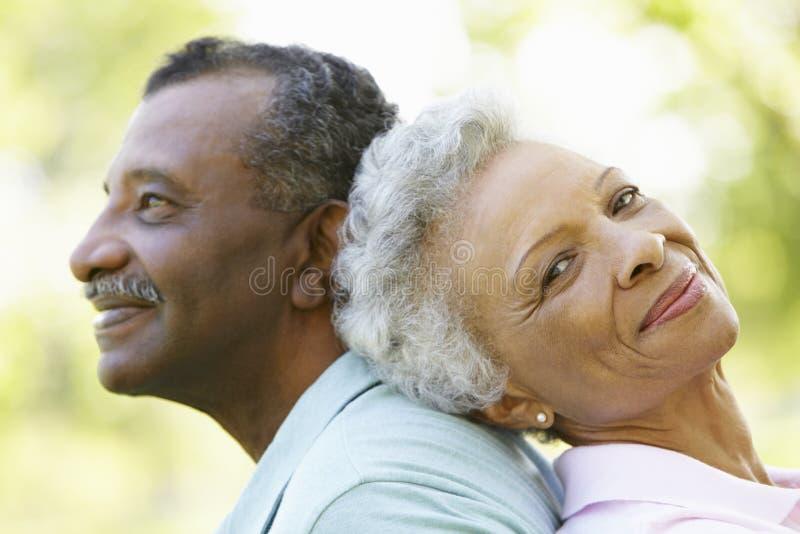 Retrato de pares afro-americanos superiores românticos no parque imagem de stock royalty free