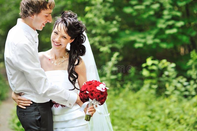 Retrato de pares felizes do casamento fotos de stock