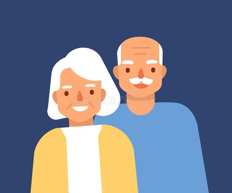 Retrato de pares idosos felizes bonitos Ancião e mulher de sorriso, avós Posição do avô e da avó ilustração stock