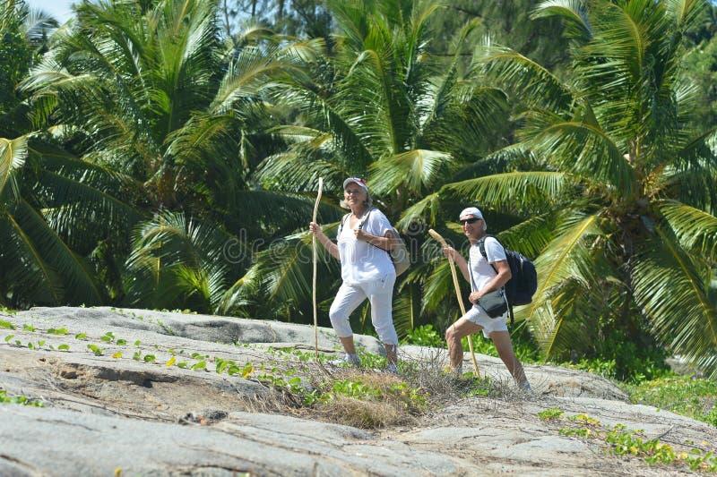 Retrato de pares mayores felices en bosque tropical imagenes de archivo