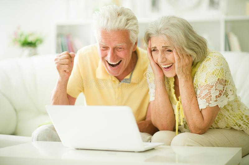 Retrato de pares mayores usando el ordenador port?til en casa foto de archivo