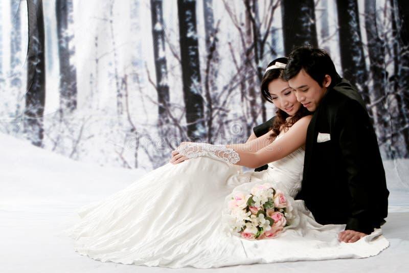 Retrato de pares novos na emoção romântica imagens de stock royalty free
