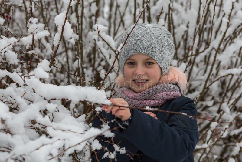 Retrato de pequeñas muchachas felices en parque del invierno foto de archivo libre de regalías