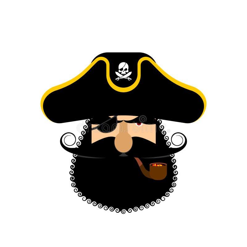 Retrato de Ppirate no chapéu Remendo do olho e tubulação de fumo filibuster ilustração stock
