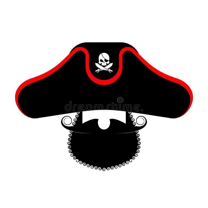 Retrato de Ppirate no chapéu Remendo do olho e tubulação de fumo filibuster ilustração royalty free