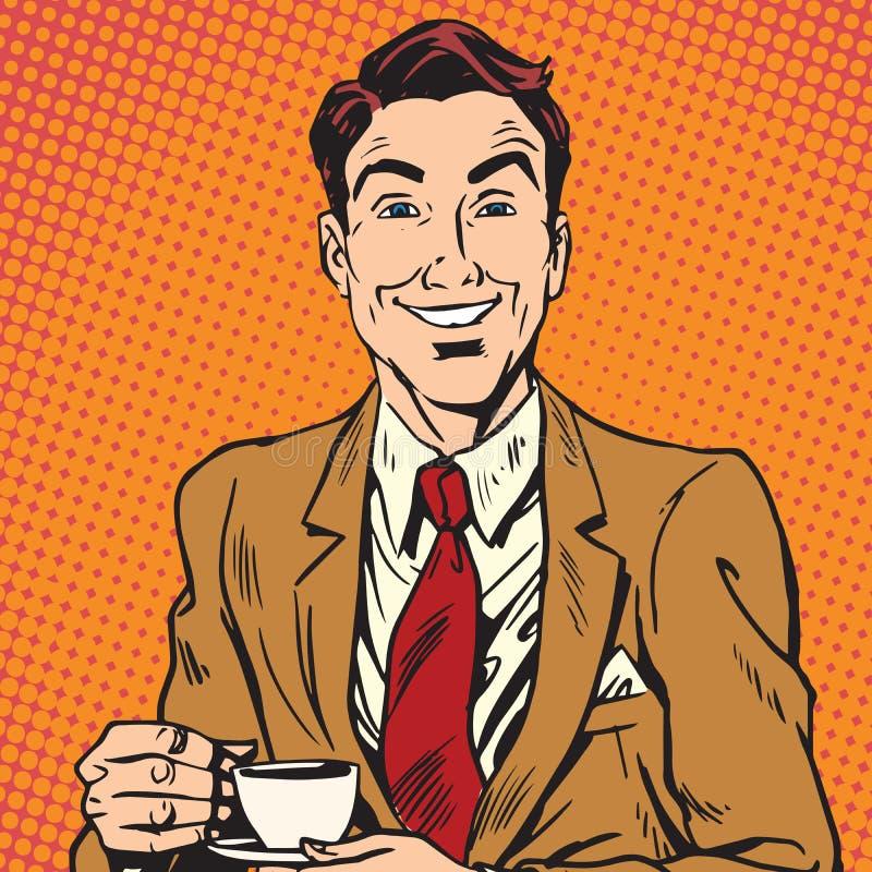 Retrato de Printavatar do café bebendo do homem ilustração stock