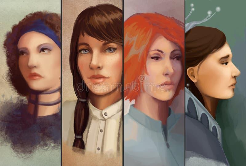 Retrato de quatro mulheres ilustração stock