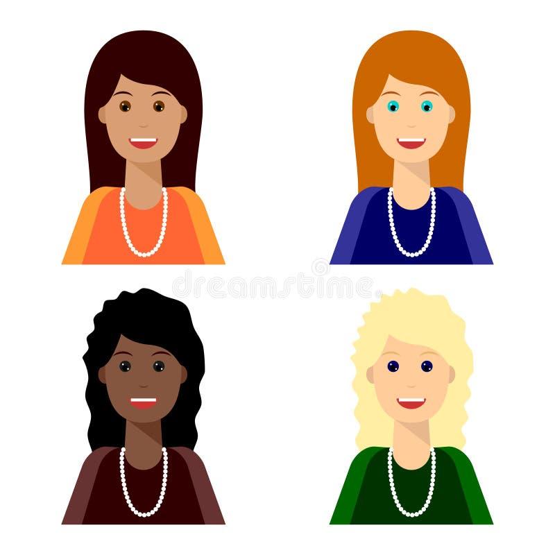 Retrato de quatro mulheres de sorriso novas ilustração stock