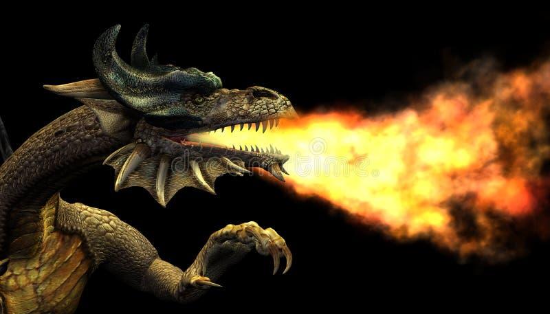 Retrato de respiração do dragão do incêndio ilustração do vetor