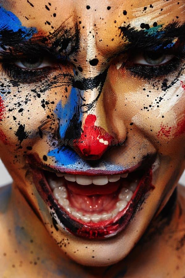 Retrato de rir o palhaço insano fotos de stock