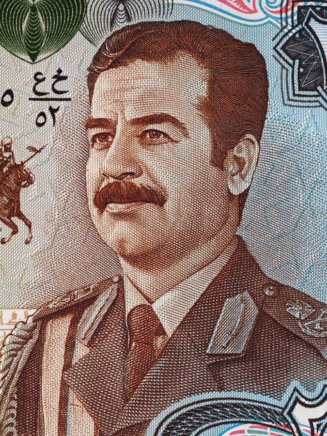 Retrato de Saddam Hussein en 25 dinares de Iraq de macro del billete de banco, dinero imágenes de archivo libres de regalías
