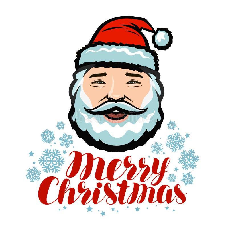 Retrato de Santa Claus alegre Feliz Navidad, tarjeta de felicitación Ilustración del vector libre illustration