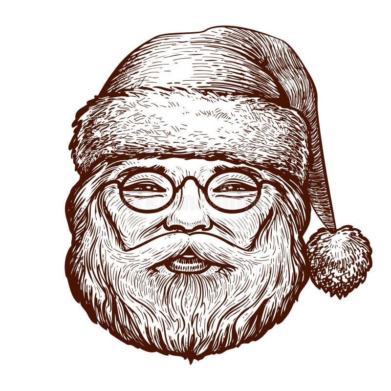 Retrato de Santa Claus feliz, bosquejo La Navidad, tarjeta de felicitación Ejemplo del vector del vintage stock de ilustración