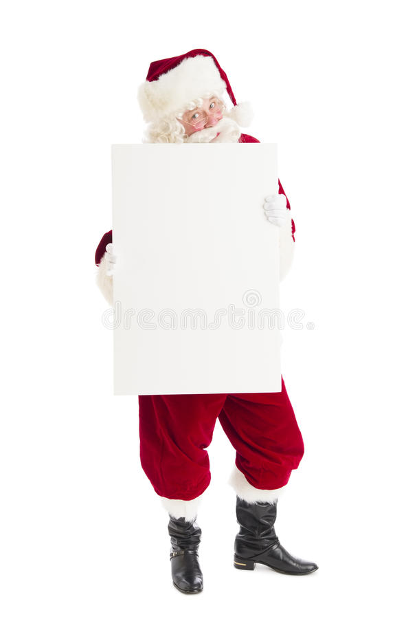 Retrato de Santa Claus Holding Blank Sign fotografia de stock royalty free