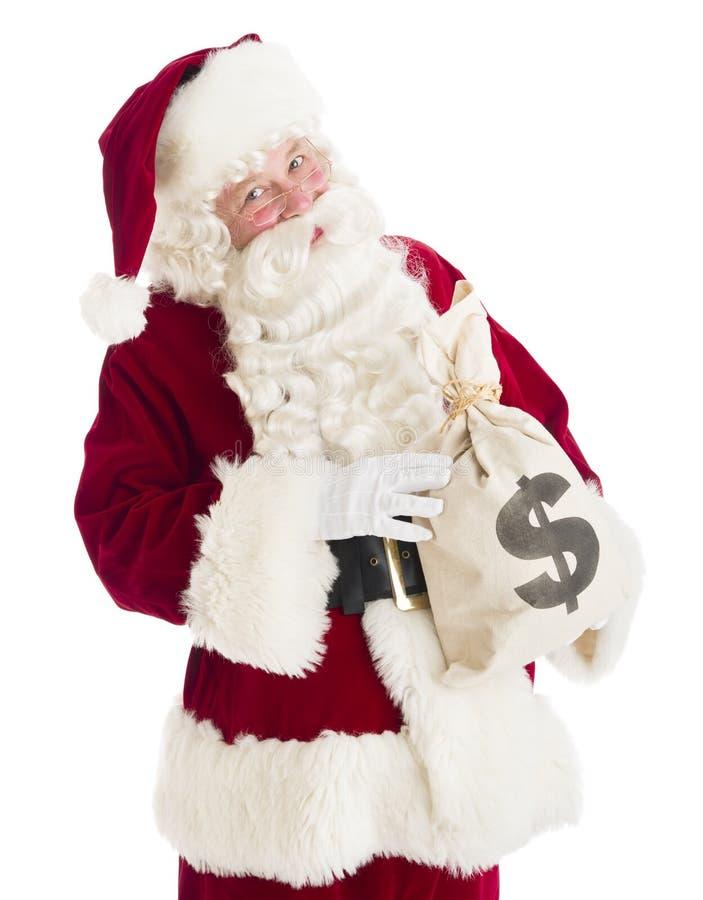 Retrato de Santa Claus Holding Money Bag foto de stock royalty free