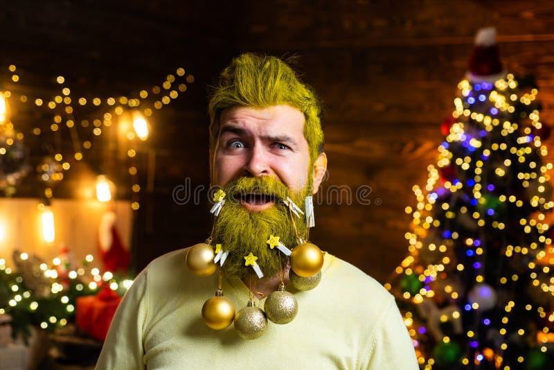 Retrato de Santa Claus madura brutal Art Greeting Card festivo Inconformista Santa Claus Días de fiesta de la Navidad del tema y fotos de archivo