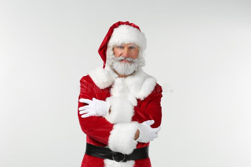 Retrato de Santa Claus no fundo branco fotografia de stock royalty free