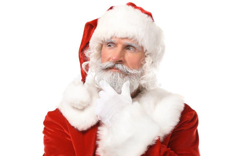 Retrato de Santa Claus no fundo branco fotos de stock royalty free