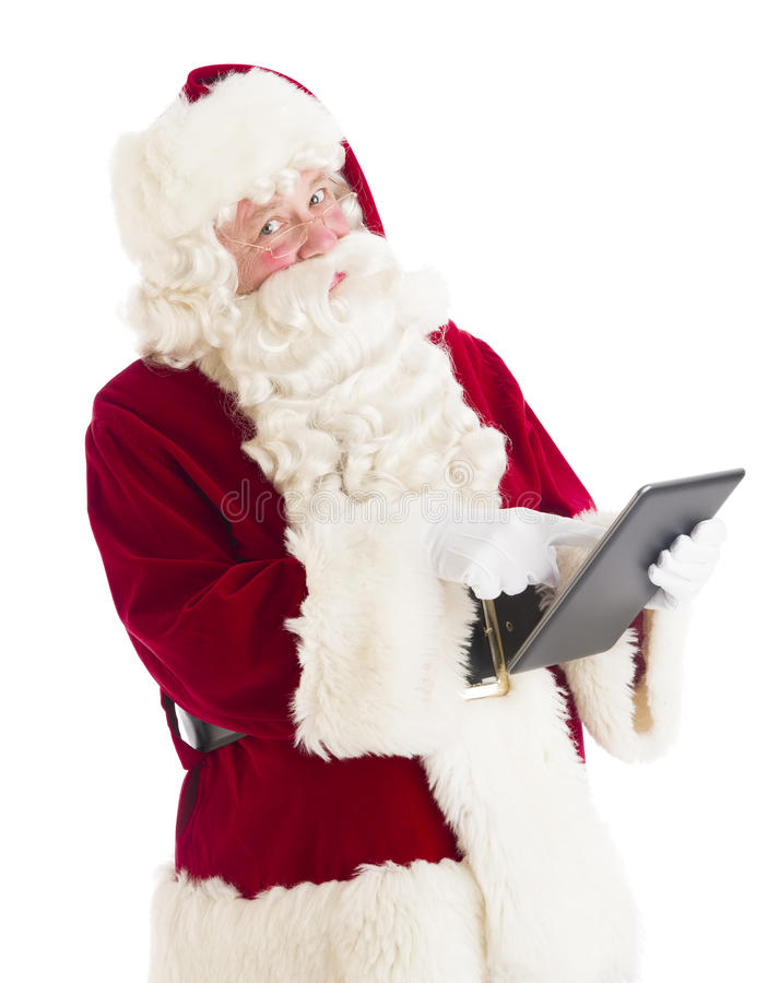 Retrato de Santa Claus Using Digital Tablet imagens de stock