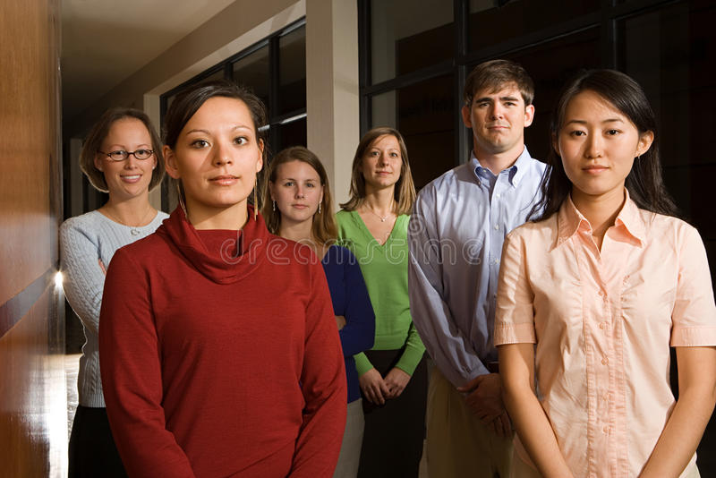 Retrato de seis profesores imagen de archivo libre de regalías