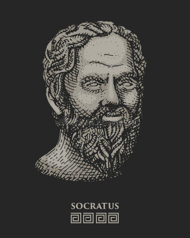 Retrato de Socrates O filósofo do grego clássico, cientista, e o vintage do pensador, gravaram a mão tirada no esboço ou na madei ilustração royalty free