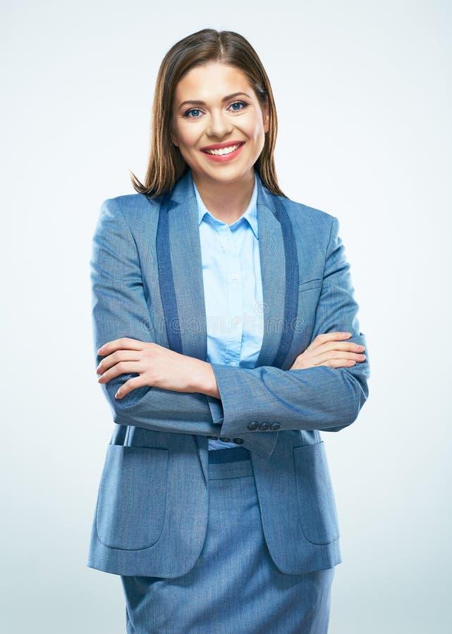 Retrato de sorriso da mulher de negócio, braços cruzados imagens de stock