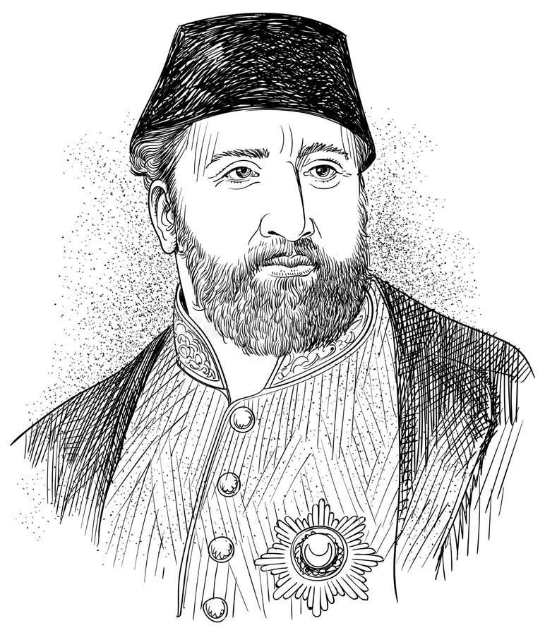 Retrato de Sultan Abdulaziz ilustración del vector