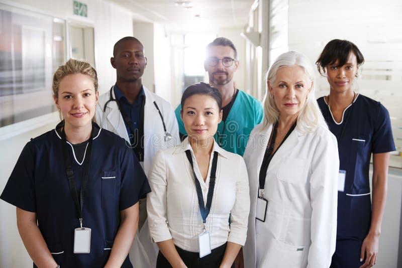 Retrato de Team Standing In Hospital Corridor m?dico imagens de stock royalty free