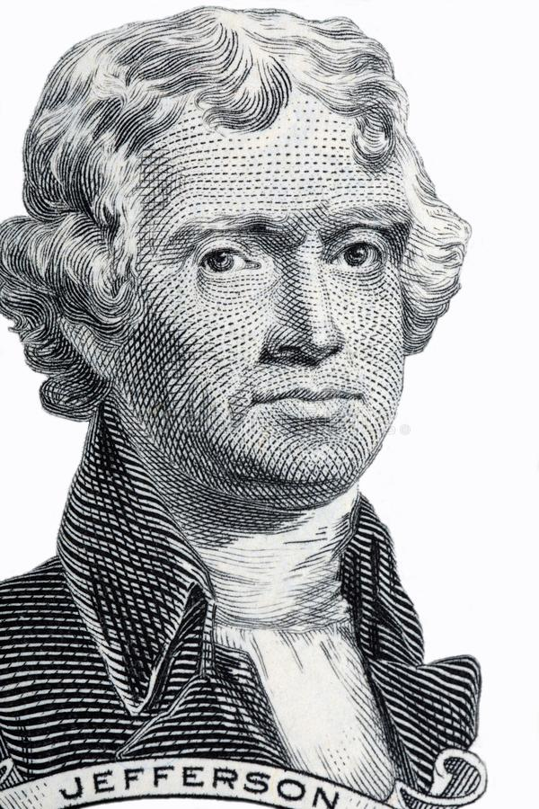 Retrato de Thomas Jefferson foto de stock