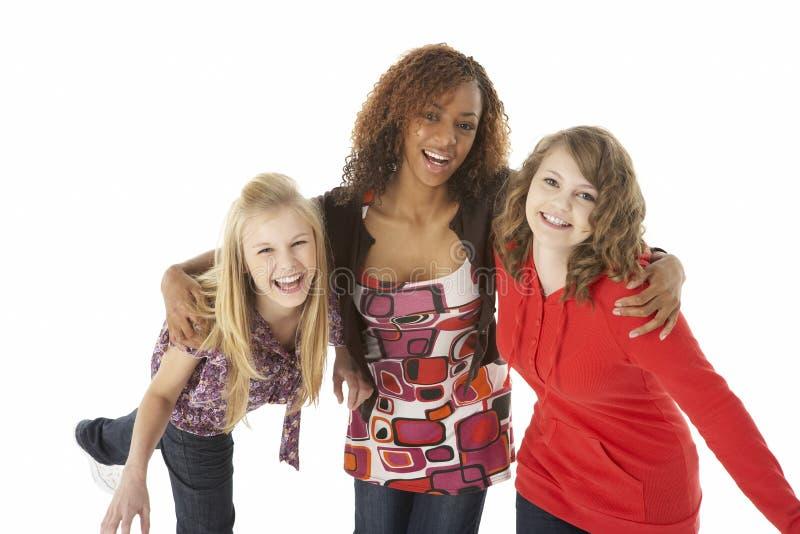 Retrato de três adolescentes imagem de stock