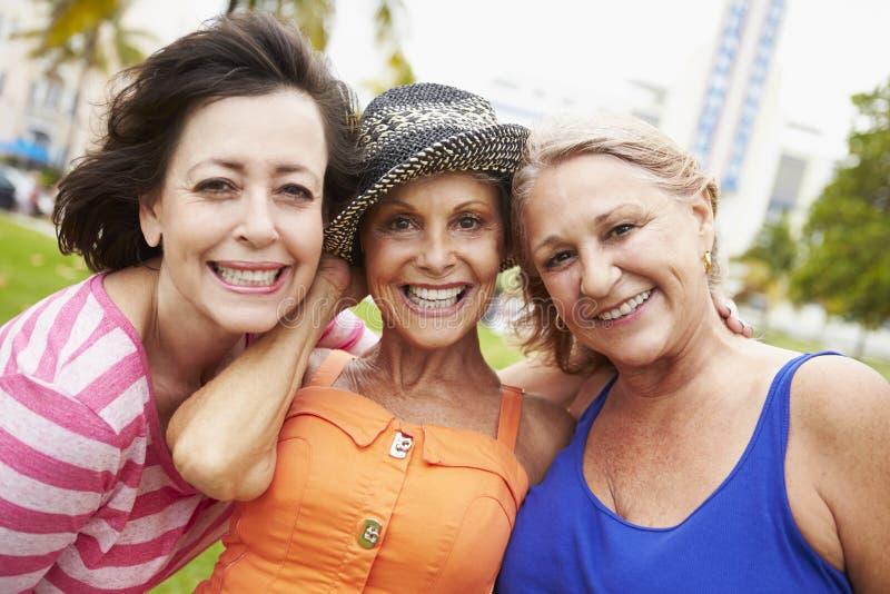 Retrato de três amigos fêmeas superiores no parque fotografia de stock