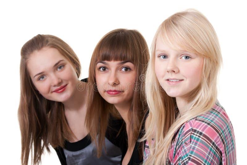 Retrato de três meninas imagens de stock